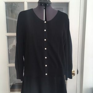 Karl Lagerfeld Pearl Buttoned Knit Cardigan